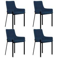 Krzesła stołowe, 4 szt., niebieskie, tapicerowane tkaniną