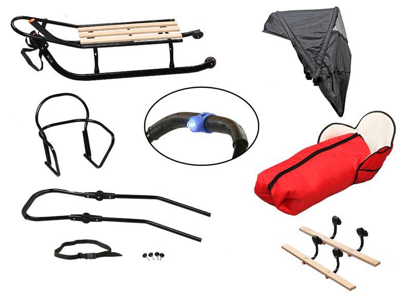 SANKI dla dzieci z budką (czarne) +śpiwór + pchacz + podnóżki + kółka zdjęcie 13