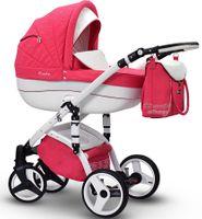 Różowo - Biały Wózek dziecięcy wielofunkcyjny Evado T+ ECO Wiejar zestaw 3w1