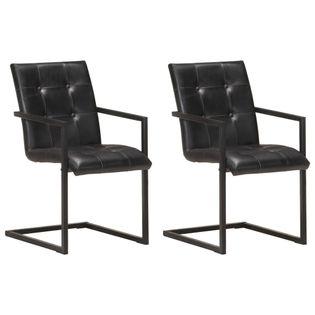 Lumarko Krzesła stołowe, wspornikowe, 2 szt., czarne, skóra naturalna
