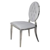 Krzesło Ludwik glamour Silver pikowane kryształki