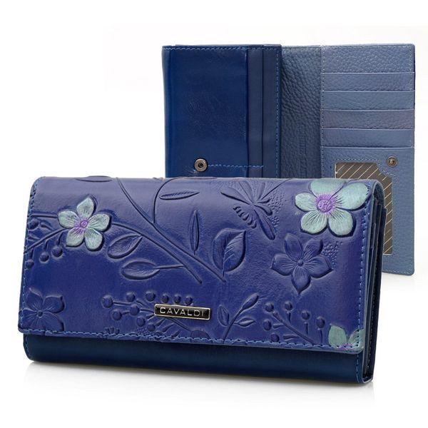 762b11f64dca2 CAVALDI portfel skórzany damski kwiaty P028 niebieski • Arena.pl