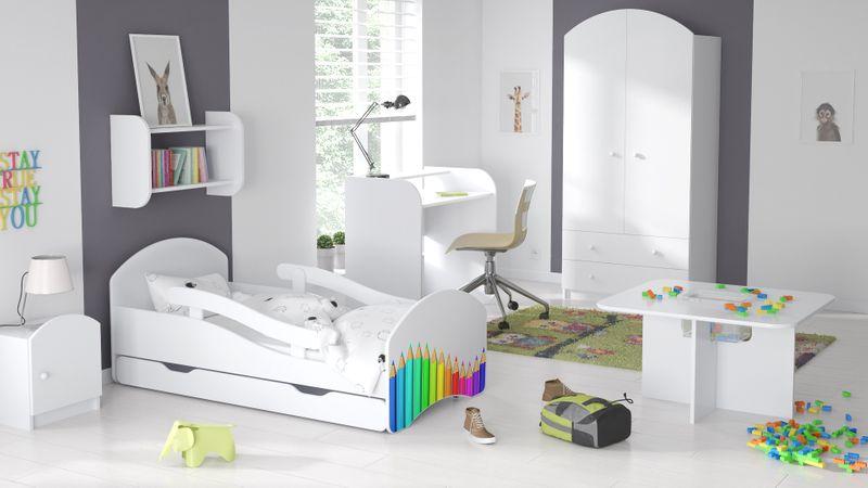 Łóżko dziecięce łóżeczko 140x70 białe szuflada materac dla dziecka zdjęcie 16