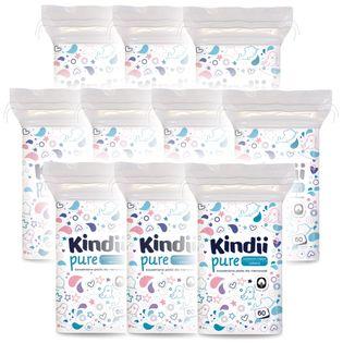 CLEANIC Kindii 60szt - płatki kosmetyczne dla dzieci niemowląt - 10 opakowań