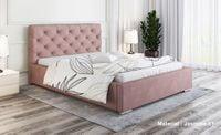 Łóżko tapicerowane LUX11 140x200 ze stelażem i  pojemnikiem kryształki