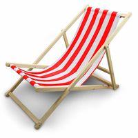Leżak Plażowy Leżak ogrodowy Biało-Czerowne Paski