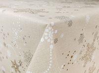 Cerata Świąteczna Święta Obrus Stół Beżowy Śnieżki 140x10 CA402
