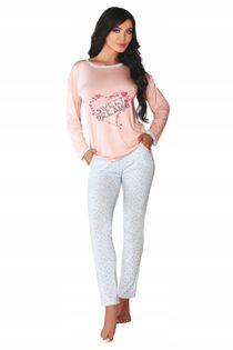Piżama L/XL wiskoza długi rękaw spodnie napis
