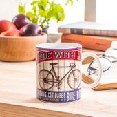 KUBEK CERAMICZNY do kawy herbaty ROWER BIAŁY 300ml
