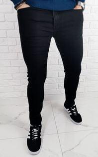 Czarne jeansy meskie slim fit bez dziur premium B-390 - 31