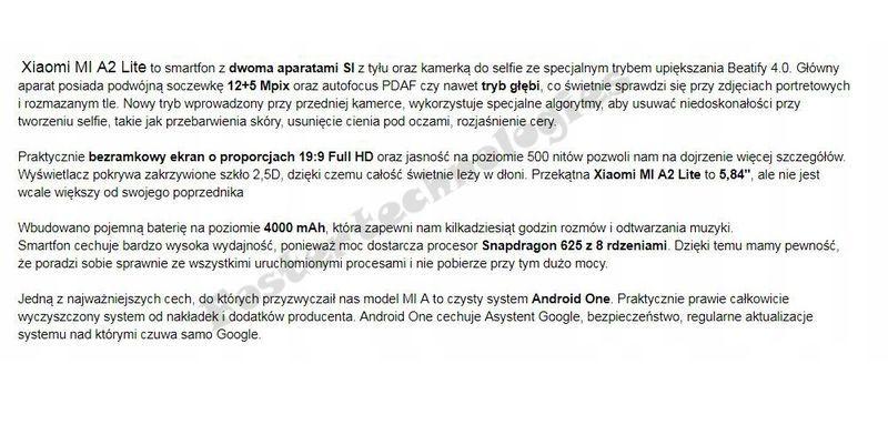 Xiaomi Mi A2 Lite 3/32 GB Złoty EU LTE Dual Sim zdjęcie 4
