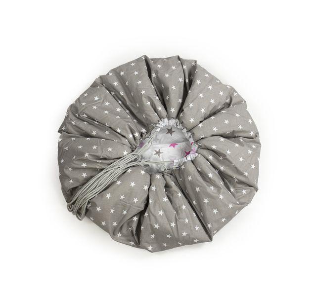 Mata do zabawy/worek na zabawki 2w1 szare/różowe gwiazdki 150 cm Color - Black zdjęcie 3