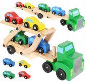 Samochód Drewniany TIR Laweta Ciężarówka + 4 Auta U28