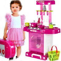 Kuchnia dla dzieci z  piekarnikiem i akcesoriami w walizce Różowa