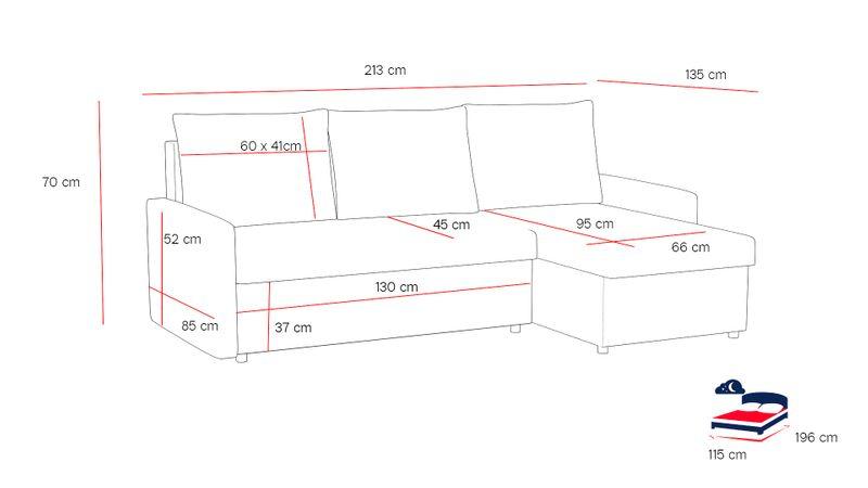 Narożnik Milton funkcja SPANIA łóżko ROGÓWKA sofa zdjęcie 2