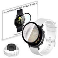 Pasek sportowy opaska i szkło 3D do Samsung Galaxy Watch Active 2 44mm biały