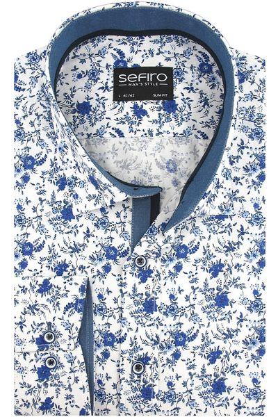 Biała koszula męska MMER z dodatkami w kwiaty 628 Długi