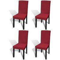 Elastyczne Pokrowce Na Krzesła W Prostym Stylu, Bordo 4 Szt.