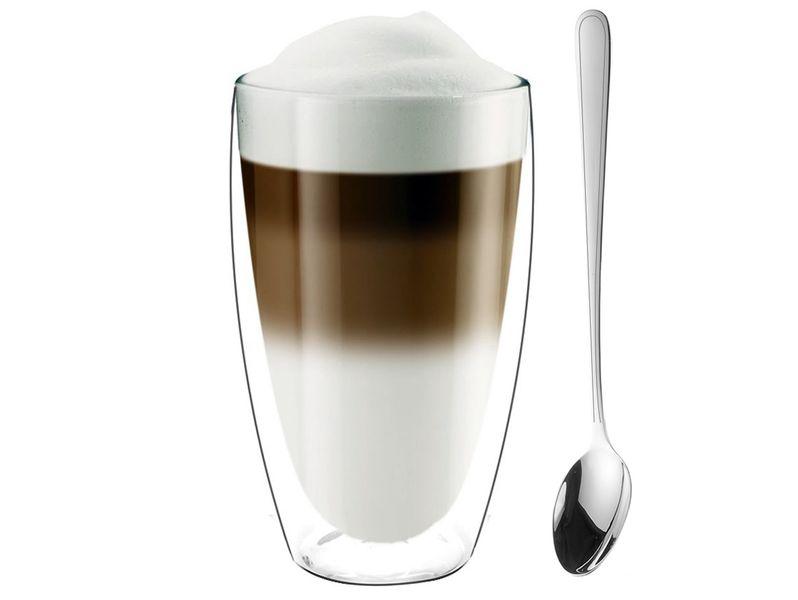 Szklanki Termiczne z Podwójną Ścianką Kawa Latte z Łyżeczkami 6 sztuk zdjęcie 3