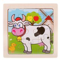 Puzzle Drewniane Układanka Krowa 9El. 11X11Cm