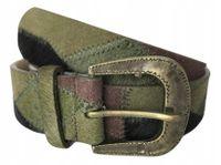 PASEK DAMSKI zielony khaki czarny łatki szer. 4 cm