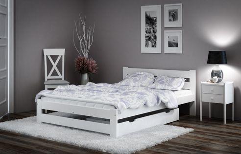 Łóżko 140x200 Sosnowe Białe Stelaż Zagłówek A1