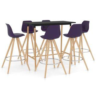 Lumarko 7-częściowy zestaw mebli barowych, fioletowy