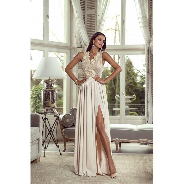 Długa Koronkowa Sukienka Maxi Wesele Suknia Beżowa 42 Arenapl