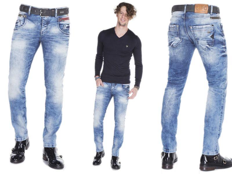 Spodnie jeansowe męskie Cipo&Baxx FANCY SLIM FIT BLUE~3134