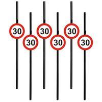 Słomki party 30 URODZINY Traffic Birthday 6 szt