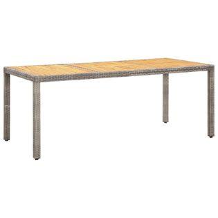 Lumarko Stół ogrodowy, szary, 190x90x75 cm, rattan PE i drewno akacjowe