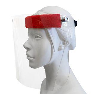 Maska przyłbica ochrona na twarz. Face shield regulowana po obwodzie podnoszona szybka ochraniacz chłonny napotnik