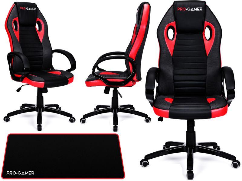 Fotel obrotowy gamingowy KUBEŁKOWY dla gracza FLAME+ PRO-GAMER zdjęcie 1