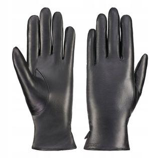 BETLEWSKI Rękawiczki skórzane damskie ocieplane rozmiar M