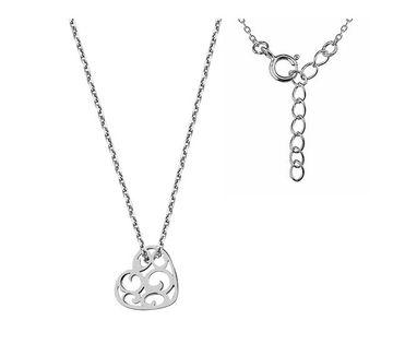 Elegancki rodowany srebrny naszyjnik gwiazd celebrytka ażur ażurowa ozdoba serce srebro 925 G0083N