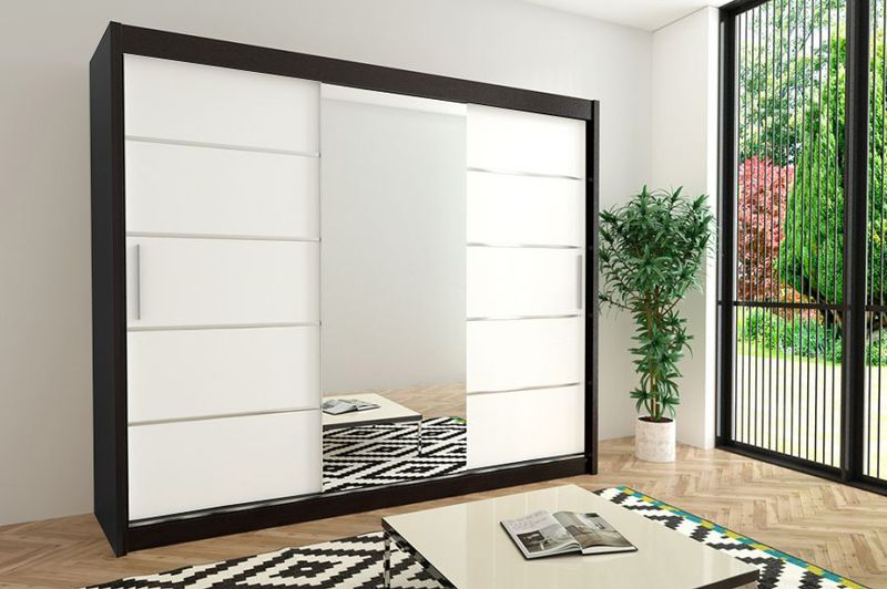 Szafa przesuwna garderoba Verona 2-250 z lustrem biała wenge sonoma zdjęcie 9