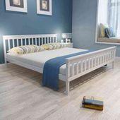 Łóżko Z Materacem Memory, Białe, Lite Drewno Sosnowe 180X200 Cm