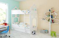 Łóżko piętrowe DOMEK 180x80 + 2 materace piankowe + pojemna szuflada