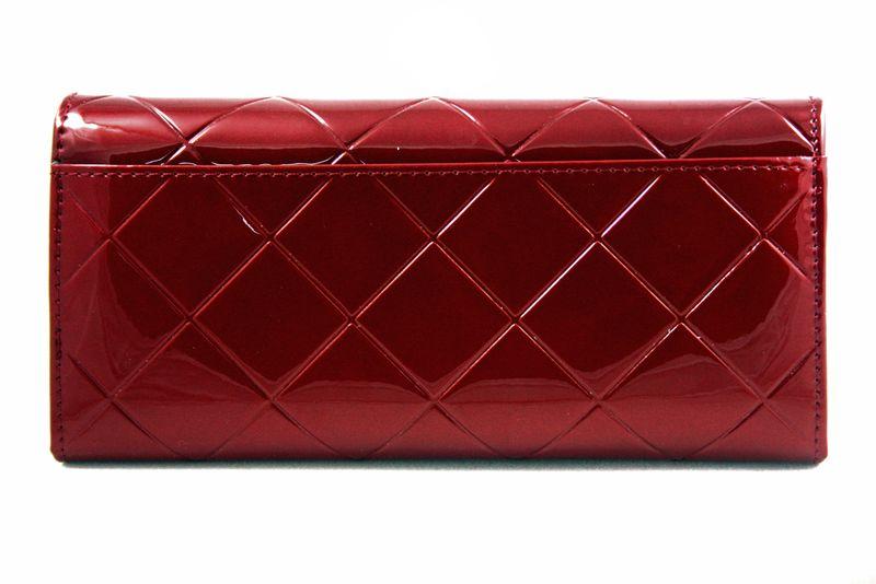Duży czerwony portfel damski, lakierowany, pikowany, RFID, Peterson zdjęcie 5