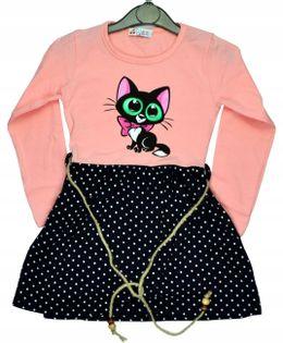 Sukienka dziewczęca Kot morela, bawełna roz.110