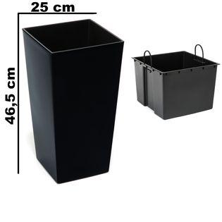 Doniczka wysoka z wkładem połysk Czarny H 465 mm