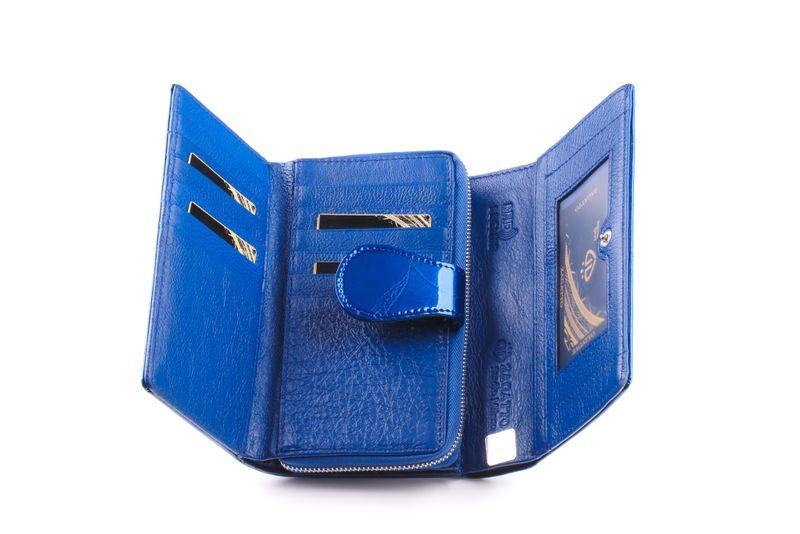 Mały portfel skórzany damski Zagatto granatowy liście RFID ZG-113 Leaf zdjęcie 5