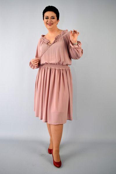 eb19348470 Sukienka AGATA szyfonowa gumka w pasie rękawy bufki brudny róż 42 zdjęcie 3