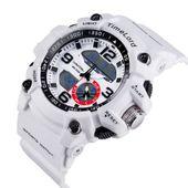 Najmodniejszy Zegarek Męski Elektroniczny Biały S-SHOCK Dwa Czasy