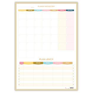 Planer Miesięczny Suchościeralny Pastelove Z Planem Lekcji