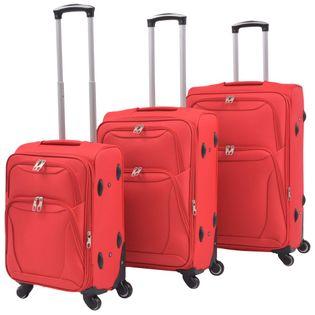 3-częściowy komplet walizek podróżnych, czerwony