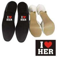 ŚMIESZNE NAKLEJKI na buty wesele I LOVE HER kocham