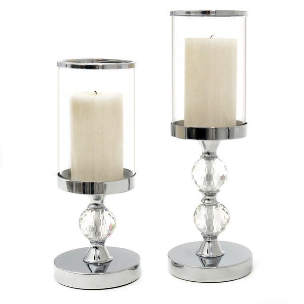 ŚWIECZNIK SZKLANY LAMPION GLAMOUR KOMPLET 2 SZT zdjęcie 1