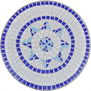 BISTRO MOZAIKA stolik 60cm, do ogrodu, na taras biało-niebieski