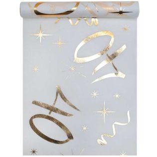 """Bieżnik """"40 urodziny - złote, biały"""", SANTEX, 500 x 30 cm"""